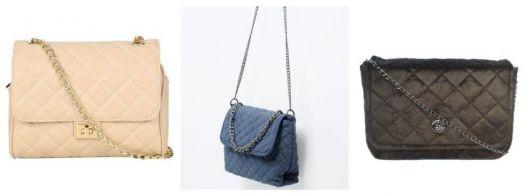 Montagem com três exemplos de bolsa mantelassê.